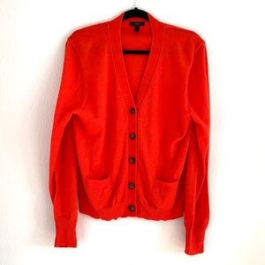 Bright Red J. Crew Cardigan with Tortoise Buttons